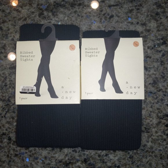 2x Women's Ribbed Sweater Tights A New Day Black